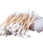 300 Pcs Make up Disposable Wooden Tube Double Head Cotton Swab Bud