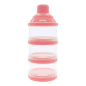 WEKA Infant Baby Dispenser Milk Powder Container Boxes Bottle 3 Layer Pink