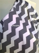Breastfeeding Nursing Cover Set, 100% Breathable Cotton, Innovative Baby Monitor Neckline, with FREE Cotton Carrying Pouch and Pacifier Clip, Dark Grey Chevron