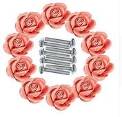 WICOO 10PCS Ceramic Vintage Floral Rose Door Knobs Handle Handmade Rose Handles Ceramics Kitchen Door Cabinet Drawer Knob Pulls