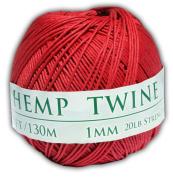 130m of 1mm 100% Hemp Twine Bead Cord in Red