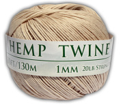 130m of 1mm 100% Hemp Twine Bead Cord in Natural