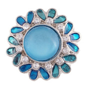 "Chunk Snap Charm Blue Teal and Clear Crystals 22mm 3/4"" Diameter"