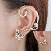 1Pair Fashion Women Butterfly Ear Cuff Stud Crystal Rhinestone Earrings Gift