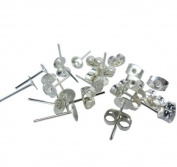 100 Lot Stainless Steel Silver Tone Flat Base Pad Earring Make DIY With Posts Studs Back Blank Findings