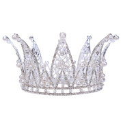 Stuffwholesale 7.6cm Height Crystal Rhinestone Crown Tiaras White Pearl Prom Party Girl Headband with Bobby Pins