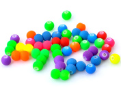 140Pcs Acrylic Spacer Beads Ball Smooth Round Candy Colours Rubber Jewellery Making