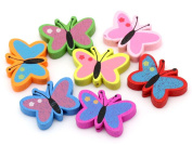 10Pcs Random Colour Wood Spacer Beads Butterfly Pendant Jewellery Making Finding