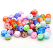 100Pcs Resin Spacer Beads Ball Stripe Round Loose Jewellery Making Finding