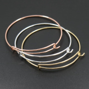 6pcs Mix Style Rose Gold/Gold/Silver Expandable Wire Bangle Bracelet for Charms Adjustable for Stacking Charm Bracelets Bracelet Blanks