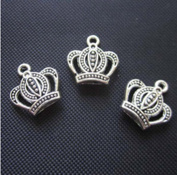 60Pcs Crown Silver Pendants Alloy Jewellery Making Finding Supply Beads Craft