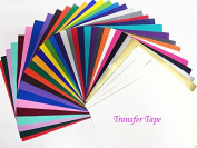 Vinyl Sheets With Transfer Tape (35 Pack) - Oracal 651 Ultimate Value Assortment Pack Permanent Vinyl for Cricut, Silhouette Cameo, Craft Cutters