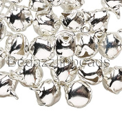 40 10mm 3/8 inch Steel Craft Jingle Bells With Loop Use as Dangle Charms