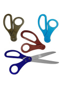 Blue Ribbon Cutting Scissors With Red Black And Light Blue Handles