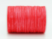 HOT CORAL 0.8x0.4mm Flat Waxed Braided Polyester Cord Beading Jewellery Leather Craft String
