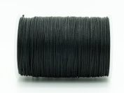 BLACK 0.8x0.4mm Flat Waxed Braided Polyester Cord Beading Jewellery Leather Craft String