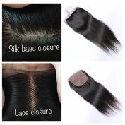 Derun Hair Silk Base Closure Brazilian Hair 10cm X 10cm Straight Hidden Knots Free Part Human Hair Silk Closure Natural Colour 25cm