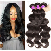 ALI JULIA Hair Brazilian Virgin Hair Body Wave 3 Bundles,Grade 6A 100% Unprocessed Virgin Brazilian Wavy Human Hair Weave Extensions 95-100g/pc