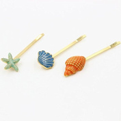 Prettyou Ocean Theme Alloy Clips Conch /Shell/ Starfish 3 Clips in One Set