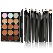 Yonala 1PCS Cosmetics Contour and Highlighting Make Up Palette and 20 PCS Multifunction Powder Foundation Brushes