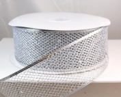 Wired Glitter Netting Mesh Silver Christmas Ribbon 6.4cm 50 Yards