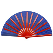 Chinese Tai Chi Martial Art Kung Fu Bamboo Dragon and Phoenix Fan Blue