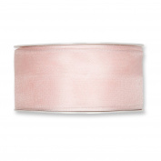 FloristryWarehouse Blush Pink Organza ribbon 3.8cm wide wired fabric x 27 yards roll. Made in Germany