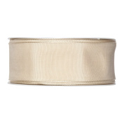 FloristryWarehouse Fabric Ribbon 3.8cm wide x 27 yards Buttermilk