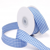 Laribbons 2.5cm Wide Plaid Ribbon, Wired Gingham Ribbon for Craft - 25 Yard/spool