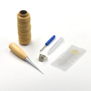 One Set Hand Sewing Tools Leather Carft Awl Waxed Thread Thimble Ring Seam Ripper