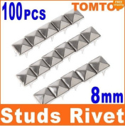 homeking Popular 100Pcs 8mm Diy Spike Square Stud Rivet Punk Bag Belt Leathercraft