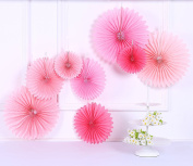 Sorive® Pack of 8 Hanging Party Wedding Decorations Pink Paper Fans and Tassel Garland Set