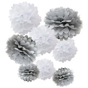 Sorive® Set of 8 (Assorted White / Grey Pack) 20cm 25cm 36cm Tissue Pom Poms Flower Party Decorations for Weddings, Birthday, Bridal, Baby Showers Nursery Décor