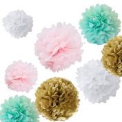 Sorive®12x Mixed Sizes 20cm 25cm 36cm White Pink Mint Kahki Tissue Paper Pom Poms Set Wedding Party Decor, Pom Pom Flowers, Tissue Paper,Tissue Paper Flowers Kit,Wedding Pom Poms,Pom Poms Decor SI8