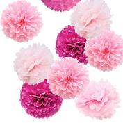 Sorive® Pack of 9pcs Mixed Sizes 20cm 25cm 36cm Party Crafts Tissue Paper Pom Poms Flowers Kit - Light Pink, Pink & Fuchsia SRI1887
