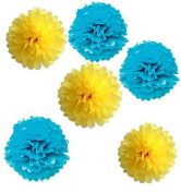 Sorive® Pack of 6pcs 36cm Tissue Paper Pom Poms Flowers Craft Kit Ball Wedding Bridal Shower Party Decoration - Yellow & Blue SRI1886