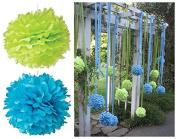 Sorive® Pack of 12pcs Mixed Size 20cm 25cm Green Blue Tissue Paper Pom Poms Flowers Set Wedding Party Decor SRI1882