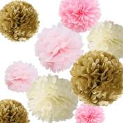 Sorive®12xMixed Sizes 20cm 25cm 36cm Tissue Pom Pom Kit -Ivory,Light Pink,Pink and kahki-tissue Paper Pom Poms,wedding/party Decor,tissue Paper Pom Poms,tissue Paper Flowers Kit S1
