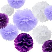 Sorive® 12pcs Premium Tissue Paper Pom Pom Flowers Craft Kit - Rustic Purple and White