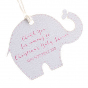 Summer-Ray.com 50pcs Personalised Pink Baby Elephant Baby Shower Favour Tags