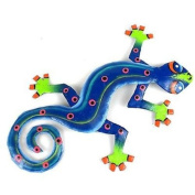 Caribbean Craft Eight Inch Blue Green Metal Gecko