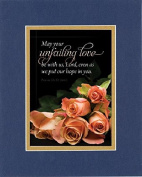 GoodOldSaying - Poem for Love & Marriage - May your unfailing love be with us . . . on 8x10 Biblical Verse set in Double Mat (Blue On Gold) - A Priceless Poetry Keepsake Collection
