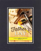 GoodOldSaying - Poem for Father's Day - Happy Father's Day (Proverbs 17:6) . . . Poem on 8x10 Biblical Verse set in Double Bevelled Matting (Black On Black) - A Priceless Poetry Keepsake Collection