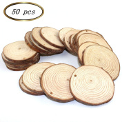 Sorive® 50pcs 5.1cm - 6.4cm Unfinished Predrilled Natural Wood Slices Circles with Tree Bark Log Discs for DIY Craft Woodburning Christmas Rustic Wedding Ornaments