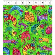 Clothworks Laurel Burch 'Enchantment' Christmas Cats on Green Cotton Fabric 44-110cm Wide