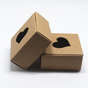 """2.6""""x2.6""""x1.2"""" (6.5*6.5*3cm) 20 Pieces Brown Kraft Paper Gift Boxes For Biscuit Cookie Nut With Heart Shaped Window To Show Food Boxes"""