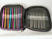 22 Different Sized Crochet Hooks With Zippered Burgundy Holding Bag