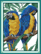 YEESAM ART® New Cross Stitch Kits Advanced Patterns for Beginners Kids Adults - Blue Headed Parrot 11 CT Stamped 24×35 cm - DIY Needlework Wedding Christmas Gifts