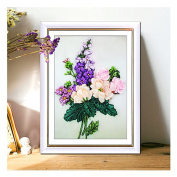 Egoshop Silk Ribbon Embroidery Kit Colourful Life DIY Wall Decor Silk Ribbon Embroidery Kit With English Instruction