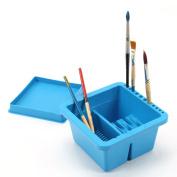 MyLifeUNIT Artist Brush Basin, Multifunction Paint Brush Tub with Brush Holder